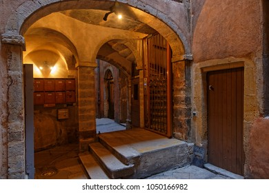 LYON, FRANCE, March 19, 2018 : A traboule in historic center of Lyon. Traboules are a type of passageway originally used by silk manufacturers and other merchants.