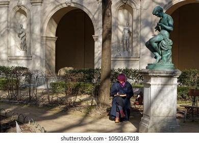 LYON, FRANCE, March 19, 2018 : Gardens of the Museum of Fine Arts of Lyon (in French, Musee des beaux-arts de Lyon), near the Place des Terreaux.