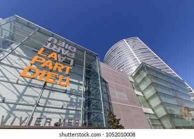 LYON, FRANCE, March 22, 2018 : The shopping mall in La Part-Dieu. The district is the central business district of Lyon and the second largest business district in France.