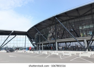 Lyon, France - March 22, 2018: The new international terminal at Saint Exupery airport in Lyon, France