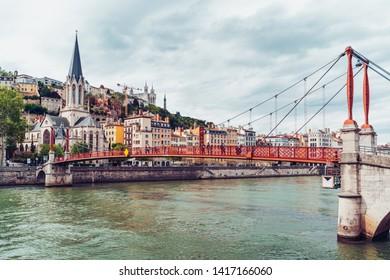 Lyon, France - May 10, 2019. Lyon cityscape from Saone river