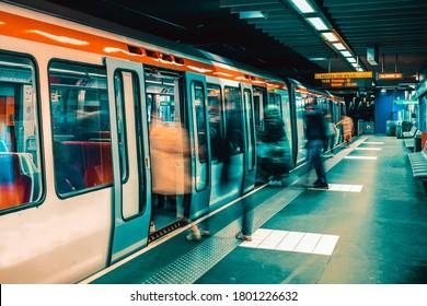 Lyon, France: MAY 12, 2019- Metro Train Station in Lyon, France