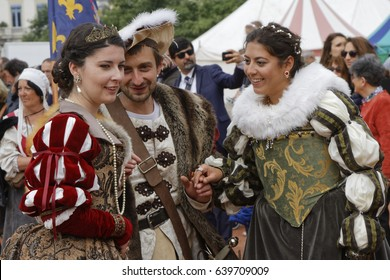 LYON, France, May 13, 2017 : Disguised people in Renaissance clothes in Vieux-Lyon district. Every year, Lyon returns to the past to celebrate its heritage during the festival of Renaissance.