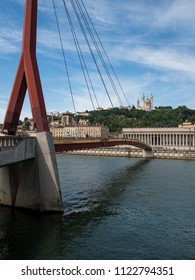 LYON, FRANCE - May, 2018: Perfect bridge across river Rhone on winter sunny day, Lyon, France