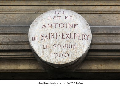 Lyon, France - May 26, 2017: Here is born Antoine de Saint Exupery the 29th of june 1900 in French. Birthplace of Antoine de Saint Exupery in Lyon, France