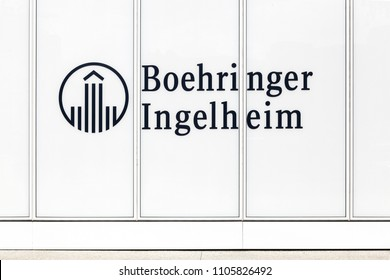 Lyon,  France - May 26, 2018: Boehringer Ingelheim logo on a building. The Boehringer Ingelheim group is one of the world's 20 leading pharmaceutical companies