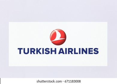 Lyon, France - May 27, 2017: Turkish airlines logo on a wall. Turkish airlines is the national flag carrier airline of Turkey