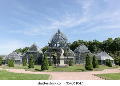 Lyon, France - May 28, 2015: Greenhouse in park of the golden head in Lyon, France