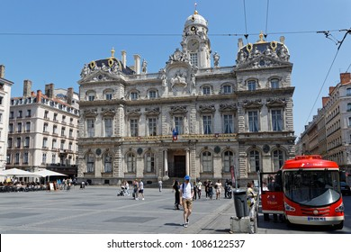 LYON, FRANCE, May 6, 2018 : The brand new Lyon City Tram take visitors to Croix-Rousse, a famous district of Lyon.  The particular design of the touristic tram is a tribute to the former funicular