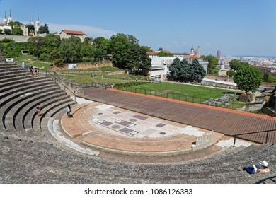 LYON, FRANCE, May 6, 2018 : The Odeon, a Roman Theater of Fourviere. Lugdunum, The Roman Museum and Theaters of Lyon are situated on Fourviere Hill. The Theatre and the Odeon are world heritage sites.