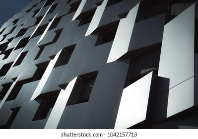 LYON, FRANCE - May 8, 2018: panels and windows of modern architecture in the sunlight.
