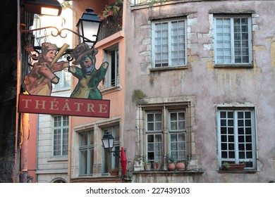 LYON, FRANCE, NOVEMBER 1, 2014 : Place de la Trinite in Lyon. The square is particularly popular as the traditional decoration of the Guignol theater.