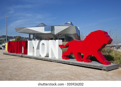 """LYON, FRANCE, November 5, 2015 : OnlyLyon, the city branding word in front of the """"Musee des Confluences"""", a science and anthropology museum at the confluence of Rhone and the Saone rivers."""