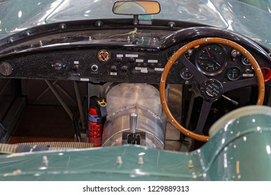 LYON, FRANCE, November 9, 2018 : Aston-Martin at the annual Motorshow Epoq'Auto, gathering more than 60,000 fans of old cars.