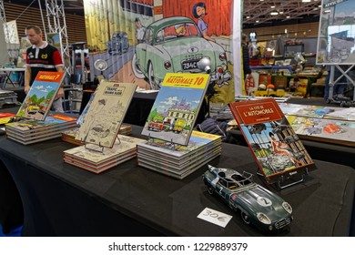 LYON, FRANCE, November 9, 2018 : Comics store at the annual Motorshow Epoq'Auto, gathering more than 60,000 fans of old cars.