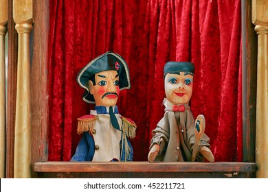 Lyon, France -October 02, 2015: Guignol Theater. 200 years after creation, original spirit of the puppet show still survives in his hometown of Lyon, where performances are part of local culture.