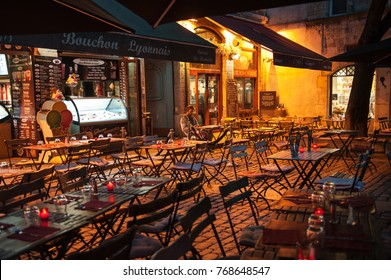 LYON, FRANCE- OCTOBER 10, 2017: Bouchon -traditional local restaurant in Lyon  where you eat specialties from Lyon and the region. There are 30 Bouchons in Lyon, France.