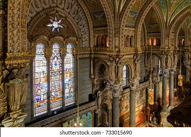 LYON, FRANCE, October 11, 2017 : Inside the Basilica of Fourviere. This minor basilica, built with private funds between 1872 and 1884, is in a dominant position overlooking the city.