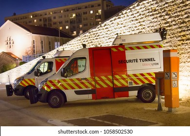 Lyon, France - October 14, 2017: Special vehicles for tunnel security, emergency vehicle, minibus, microbus, minivan