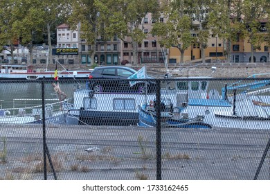 Lyon / France - October 6, 2019: Buildings along the Saone River, Quai Fulchiron (quay), in the Old City of Lyon, in the 5th arrondissement (district), and the Fourviere hill.