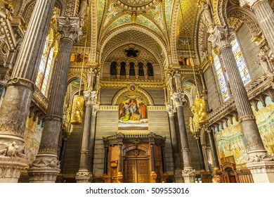 LYON, FRANCE - SEP 1, 2016: Interior of Notre-Dame de Fourviere Basilica. This is a minor basilica in Lyon. It was built with private funds in a dominant position overlooking the city.