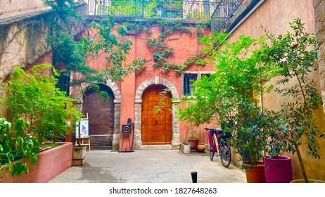 Lyon / France - September 2020: View of the colorful courtyard in Lyon old town