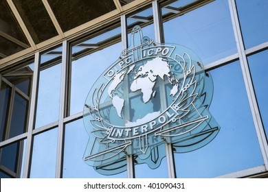 LYON, FRANCE - SEPTEMBER 21, 2015: Sign on the Facade of the Interpol headquarter.  INTERPOL is an intergovernmental organization facilitating international police cooperation.