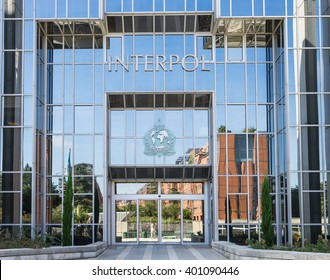 LYON, FRANCE - SEPTEMBER 21, 2015: Facade of the Interpol headquarter.  INTERPOL is an intergovernmental organization facilitating international police cooperation.