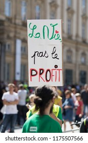 Lyon, France - SEPTEMBER 8, 2018 : Thousands of protesters march during a demonstration for climate