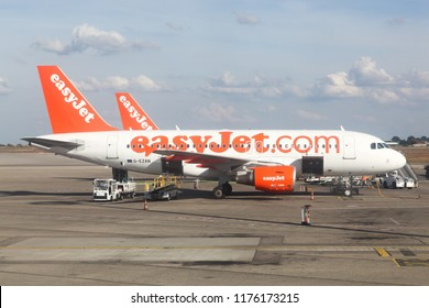 Lyon, France - September 9, 2018: Easyjet aircraft at Lyon airport. Easyjet is a British airline, operating under the low-cost carrier model, based at London Luton Airport