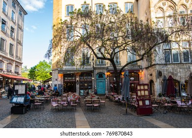 Lyon, France-04 14 2017: The variuos restaurants-bouchons in Lyon, the capital of gastronomy in France