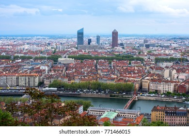 Lyon, France-25 03 2017: panoramic view from the hill of Basilica of Notre-Dame de Fourvière