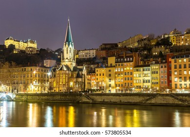 Lyon Night St Georges church, France