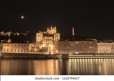 Lyon Notre-Dame de Fourviere Basilica with Saone river at night, France