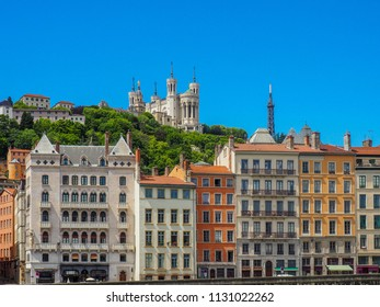 Lyon, Rhone / France - May 11 2014: View of Basillica of Notre Dame de Fourviere and the river side buildings in Lyon