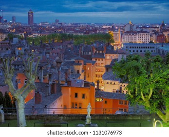 Lyon, Rhone / France - May 11 2014: View over Lyon from Villa Florentine in the evening