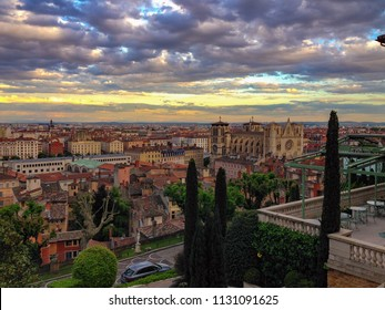 Lyon, Rhone / France - May 11 2014: View over Lyon from the Villa Florentine at dusk