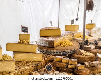 Lyon, Rhone-Alpes / France - May 10 2014: Cheese stall at Lyon market