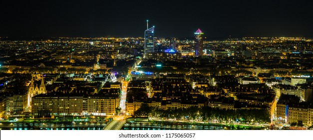 Lyon skyline by night