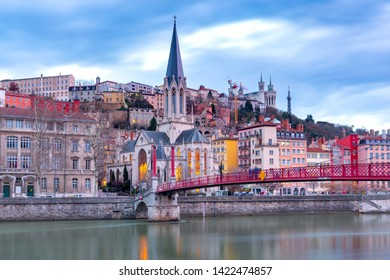 Lyon. St. George's Bridge over the River Saona.
