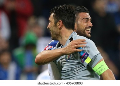 LYONE- FRANCE, J UNE 2016 :Buffon Pell�¨ celebrates victory  in  football match  of Euro 2016  in France between Belgium vs Italy at the 
