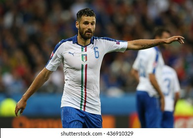 LYONE- FRANCE, J UNE 2016 : Candreva   in action during football match  of Euro 2016  in France between Belgium vs Italy at the Grand Stade Olympique Lyonnais on June 13, 2016 in Lyone.
