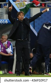 LYONE- FRANCE, J UNE 2016 :   Antonio Conte in action during football match  of Euro 2016  in France between Belgium vs Italy at the Grand Stade Olympique Lyonnais on June 13, 2016 in Lyone.