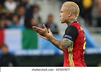 LYONE- FRANCE, J UNE 2016 :  Nainggolan in action during football match  of Euro 2016  in France between Belgium vs Italy at the Grand Stade Olympique Lyonnais on June 13, 2016 in Lyone.