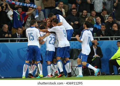 LYONE- FRANCE, JUNE 2016 :Giaccherini score the gol and celebrates  in football match  of Euro 2016 in France between Belgium vs Italy at the Grand Stade Olympique Lyonnais on June 13, 2016 in Lyone.