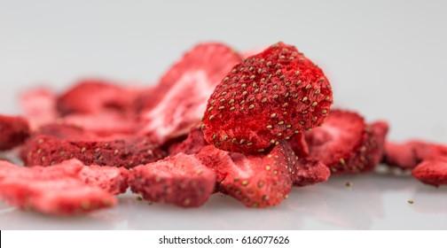 Lyophilized / freeze-dried strawberries.