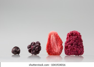 Lyophilized / freeze-dried strawberries fruits isolated on white background.