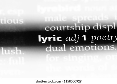 lyric word in a dictionary. lyric concept.