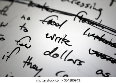 "Lyrics written in ink on paper, closeup/focus on the word ""write"""