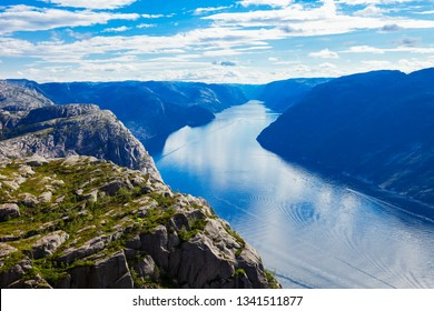 Lysefjord aerial panoramic view from the top of the Preikestolen cliff near Stavanger. Preikestolen or Pulpit Rock is a famous tourist attraction in Norway.